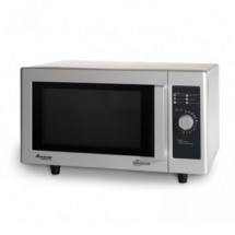Amana RMS10D Flat Bottom 1000 Watt Stainless Commercial Microwave with 6 Minute Dial Timer