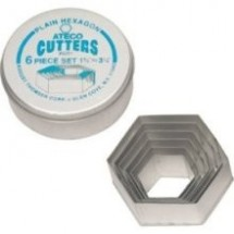 Ateco 5251 6 Piece Plain Hexagon Cutter Set
