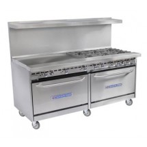 "Bakers Pride 60-BP-6B-G-24-S26 Restaurant Series (6) 40,000 BTU Burner Gas Range with 2 Standard Ovens and 24"" Griddle"