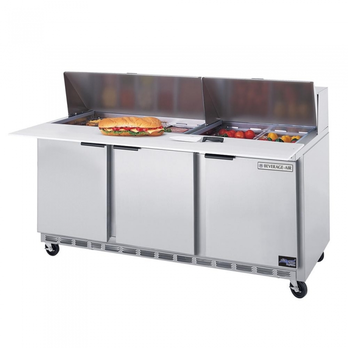 Beverage Air SPE72-12 3-Section Refrigerated 72&quot; Sandwich/Salad Preparation Table with 10&quot; Cutting Board