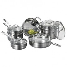 Cat Cora 706550010000 Stackable Stainless Steel 12-Piece Cookware Set