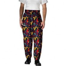 Chefwear 3000-18 Black and Chile Pepper Baggy Chef Pants