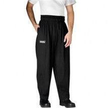 Chefwear 3000-50 Black/Grey Pinstripe Baggy Chef Pants