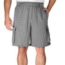 Chefwear 3850-10 Black/White Houndstooth Cargo Shorts