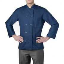 Chefwear 4410-146 Heather Blue Three Star Plastic Button Jacket