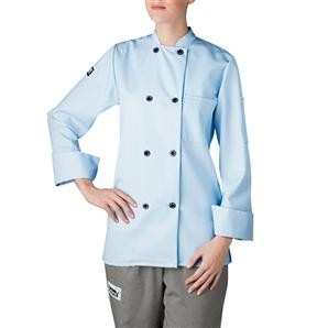 Chefwear 4420-104 Light Blue Three Star Women's Plastic Button Jacket