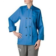 Chefwear 4420-128 Cobalt Blue Three Star Women's Plastic Button Jacket
