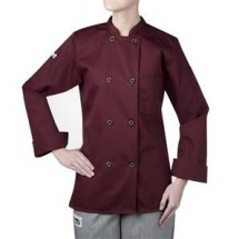 Chefwear 4420-148 Maroon Three Star Women's Plastic Button Jacket