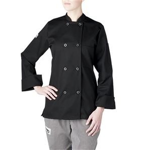 Chefwear 4420-30 Black Three Star Women's Plastic Button Jacket