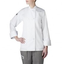 Chefwear 4420-40 White Three Star Women's Plastic Button Jacket