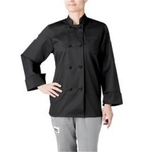 Chefwear 4430-30 Black Women's Cloth-Knot Button Jacket