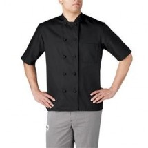 Chefwear 4450-30 Black 3 Star Cloth Knot Short Sleeve Jacket