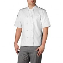 Chefwear 4450-40 White 3 Star Cloth Knot Short Sleeve Jacket