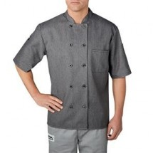 Chefwear 4455-90 Heather Grey Three Star Plastic Button Jacket