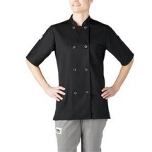 Chefwear 4465-30 Black Women's Plastic Button Jacket
