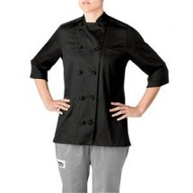 Chefwear 5025-BL Black Womens Lightweight 3/4 Sleeve Jacket