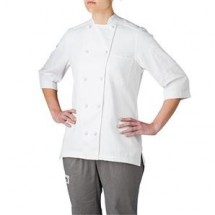 Chefwear 5025-WH Womens White Lightweight 3/4 Sleeve Jacket