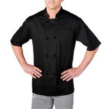 Chefwear 5610-BK Black Four Star Short Sleeve Jacket