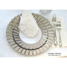 EZWare 5090 Paradise Premium Dinner Plate with Silver Rim 10.25