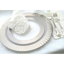 EZWare 5092 Celebration Premium Dinner Plate with Silver Rim 10.25