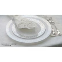 EZWare 6041 Palatial Premium Plastic Salad / Dessert Plate with Silver Rim 7.5