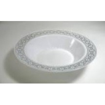 EZWare 6043 Palatial Premium Plastic Bowl with Silver Rim 12 oz.