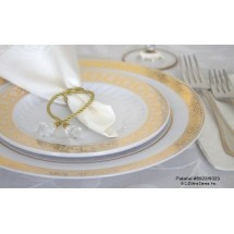 EZWare 6044 Palatial Premium Plastic Dinner Plate with Gold Rim 10.5