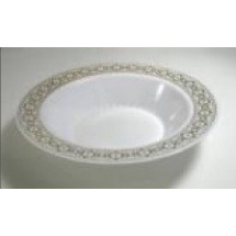 EZWare 6047 Palatial Premium Plastic Bowl with Gold Rim 12 oz.