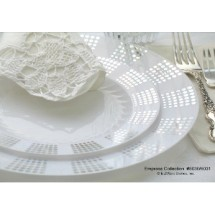 EZWare 6048 Empress Premium Plastic Dinner Plate with Silver Rim 10.5