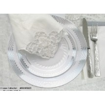 EZWare 6057 Princess Premium Plastic Salad / Dessert Plate with Silver Rim 7.5