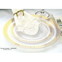 EZWare 6060 Princess Premium Plastic Dinner Plate with Gold Rim 10.5