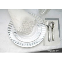 EZWare 6064 Casino Premium Plastic Dinner Plate with Silver Rim 10.5