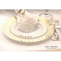EZWare 6069 Casino Premium Plastic Salad / Dessert Plate with Gold Rim 7.5