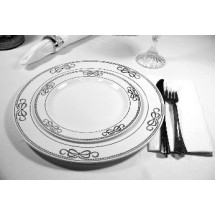 EZWare 6072 Ribbons Premium Plastic Dinner Plate with Silver Rim 10.5