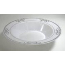 EZWare 6075 Ribbons Premium Plastic Bowl with Silver Rim 12 oz.