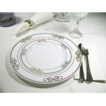 EZWare 6077 Ribbons Premium Plastic Salad / Dessert Plate with Gold Rim 7.5