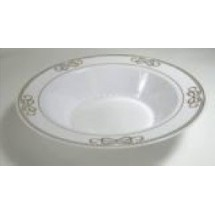 EZWare 6079 Ribbons Premium Plastic Bowl with Gold Rim 12 oz.