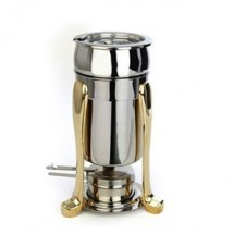 Eastern Tabletop 3101FS Marmite 2 Qt. Soup Chafer with Brass Accents