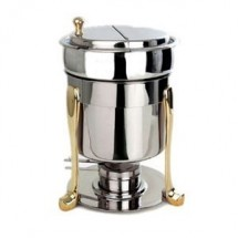 Eastern Tabletop 3107FS Marmite 7 Qt. Soup Chafer with Brass Accents