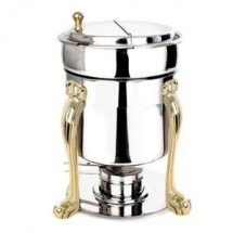 Eastern Tabletop 3107QA Queen Anne 7 Qt. Marmite Soup Chafer with Brass Accents