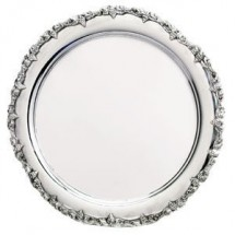 Eastern Tabletop 4335 Silver Round Tray with Applied Grape Border