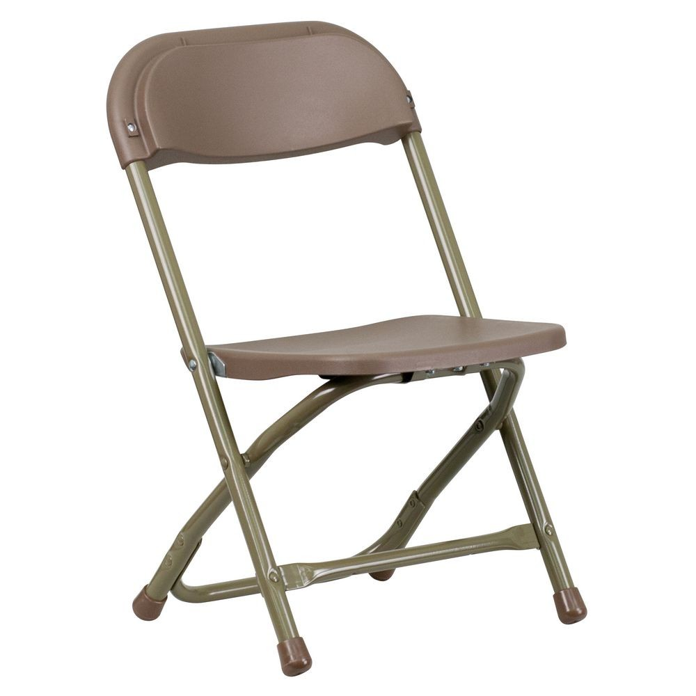 Flash Furniture Y KID BN GG Kids Brown Plastic Folding Chair TigerChef