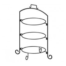 "ITI WR-123 Round 27""H Black Iron 3 Tier Plate Stand Black"