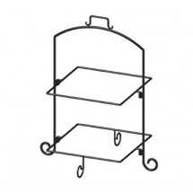 "ITI WR-132 Square 25""H Black Iron 2 Tier Plate Stand"