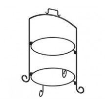 "ITI WR-142 Round 25""h Black Iron 2 Tier Plate Stand Black"
