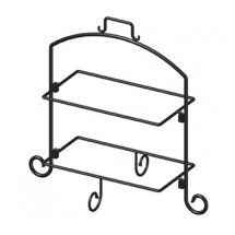 "ITI WR-152 Rectangle 20""H Black Iron 2 Tier Plate Stand - 4 Doz"