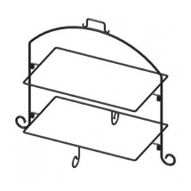 "ITI WR-212 Rectangle 24-1/2""H Black Iron 2 Tier Plate Stand"
