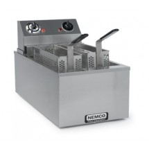 Nemco 6703-240 Countertop Electric Single Tank Fryer with Twin Baskets and 15 Minute Bell Timer