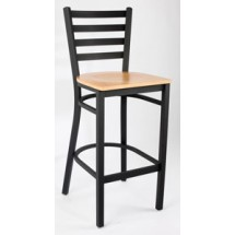 Royal Industries ROY 9002 N Ladder Back Metal Bar Stools Natural Wood Seat