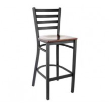 Royal Industries ROY 9002 W Ladder Back Metal Bar Stools Walnut Wood Seat